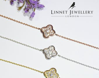 Small Clover Bracelet Cz 925 Silver Yellow Rose Gold