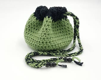Crocheted Pouch, Crocheted Bag, Trinket Bag, Cotton Crocheted Pouch, Dice Bag, Coin Purse, Jewelry Bag, Gift Bag, Crystal Bag, Treasure Bag
