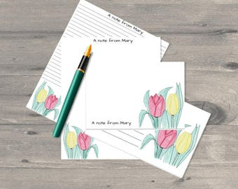 Tulips personalised letter writing set, letter writing paper set, letter writing stationary, letter writing paper, correspondence cards