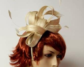 Beige fascinator on a headband,women's tea party, fancy, fashion,Kentucky Derby Fascinator,Horse Races,Prom