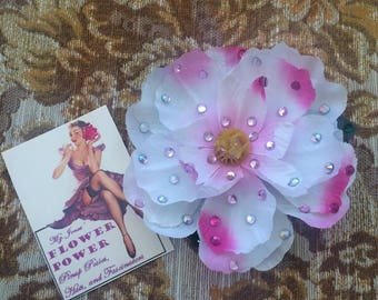 SATINE - handcrafted pinup hair-flower (PINK and WHITE)