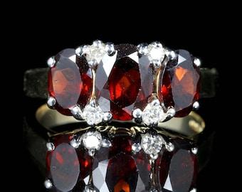 Garnet and Diamond Ring 9ct Gold