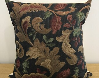 """Vintage Floral Tapestry Thick Textured Upholstery Fabric Cushion Cover. Tapestry Throw pillow. 18"""" (45cm). Cushion covers Australia"""
