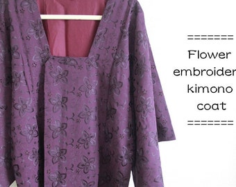 Flower embroidery kimono coat