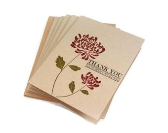 Thank You Cards, Floral, Flower, Thank You Card Set, Thank You Notes, Note Card Set, Notecards, Chrysanthemum Cards, Mum Cards, Thanks Cards