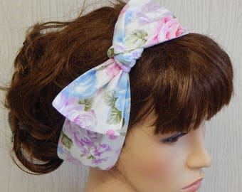 Summer headband, floral self tie hair scarf, dolly bow hair band, rockabilly head scarf, fashion head wrap, women's bandanna, retro headband