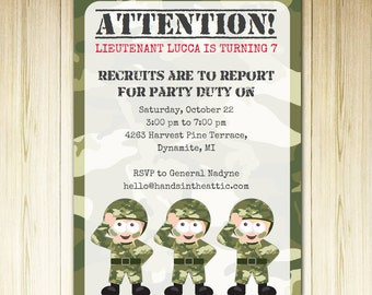Army theme birthday party, camo party camouflage theme, military invite template printable, invitation DIY army printable, DIGITAL file