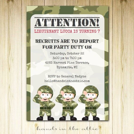 Army Theme Birthday Party Camo Camouflage Military