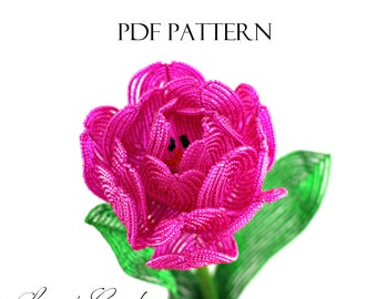 PDF Pattern - French Beaded Tulip and Peony Tulip by Lauren Harpster, Double Tulip, wire wrapping tutorial, DIY beading project