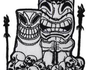 """Hawaii Tiki and Skulls Iron On Patch 3.8"""" x 2.9"""" Free Shipping by C&D Visionary P-3761"""