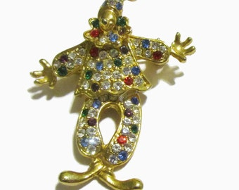 Articulated Brooch, Vintage Rhinestone Pin,  Clown,1950s-1960s, Gold Tone, Circus, Figural, Moveble
