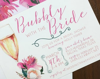 Bubbly With the Bride- Bridal Shower Invitations - Printed Invites or Digital File Only