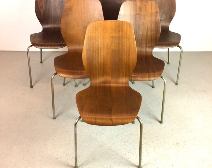 SOLD RARE Mid Century Modern Set of 6 Stackable Teak & Chrome City Chairs Westnova Oivind Iverson Style