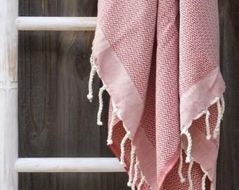 Tunisian bath / beach towel - subtle red