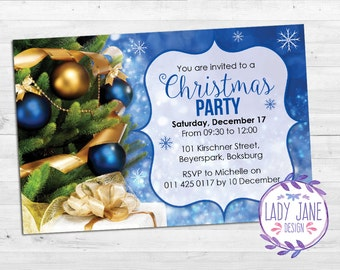 Christmas Blue and Gold Invitation