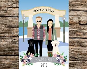 Custom illustration, Family portrait, Personalized drawing, Customized background