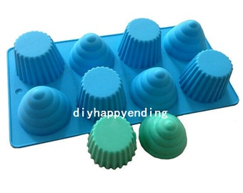 Muffin cups Cake Mold Flexible Silicone Soap Mold For Handmade Chocolate Cookie Bakeware Pudding Jelly Baking Tools