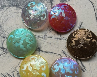 6 aurora borealis glass buttons - eye-catcher - old collector / glass buttons - rarely 2.2 cm - 6 colors