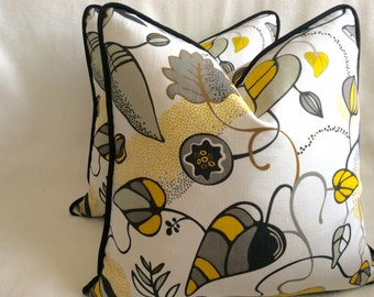 Contemporary Floral Designer Pillow Covers - Dwell Studio Design for Robert Allen - Yellow/ Black/ Gray - 2pc Set - 18x18 Covers
