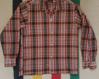 Vintage 1960s MADRAS Ivy League Loop Collar Shirt 15.5