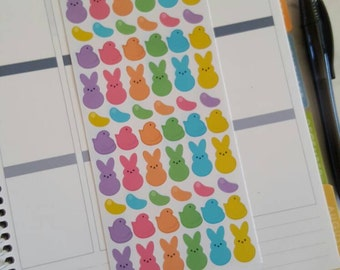 60 Bright Peeps Inspired, Easter, Candy, Marshamallow, Stickers, All Planners