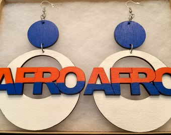Large Hand Painted Blue, Orange and White Afro Earrings