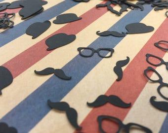 Confetti | Gentlemen | Mustache | Glasses | Hat | Party | Wedding | Bachelor | Decoration