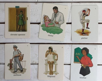 Vintage Flash Card People Jobs Family / 70's Flash Cards