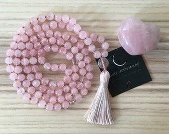 108 Rose Quartz Mala, Beaded Mala Necklace, Healing Prayer Beads, Hand-Knotted, Buddhist Jewelry, Tassel Necklace, Meditation, Yoga Jewelry
