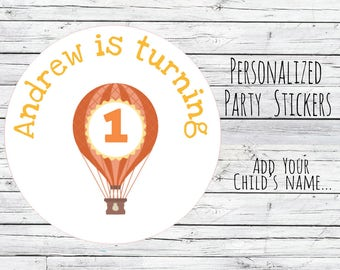 Personalized Hot Air Balloon 1st Birthday Party Favor Tags, Fairytale Theme, Bag Tags, Thanks for Coming, Stickers, Unicorn You Choose Size