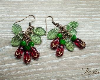 Red Earrings Garnet bouquet