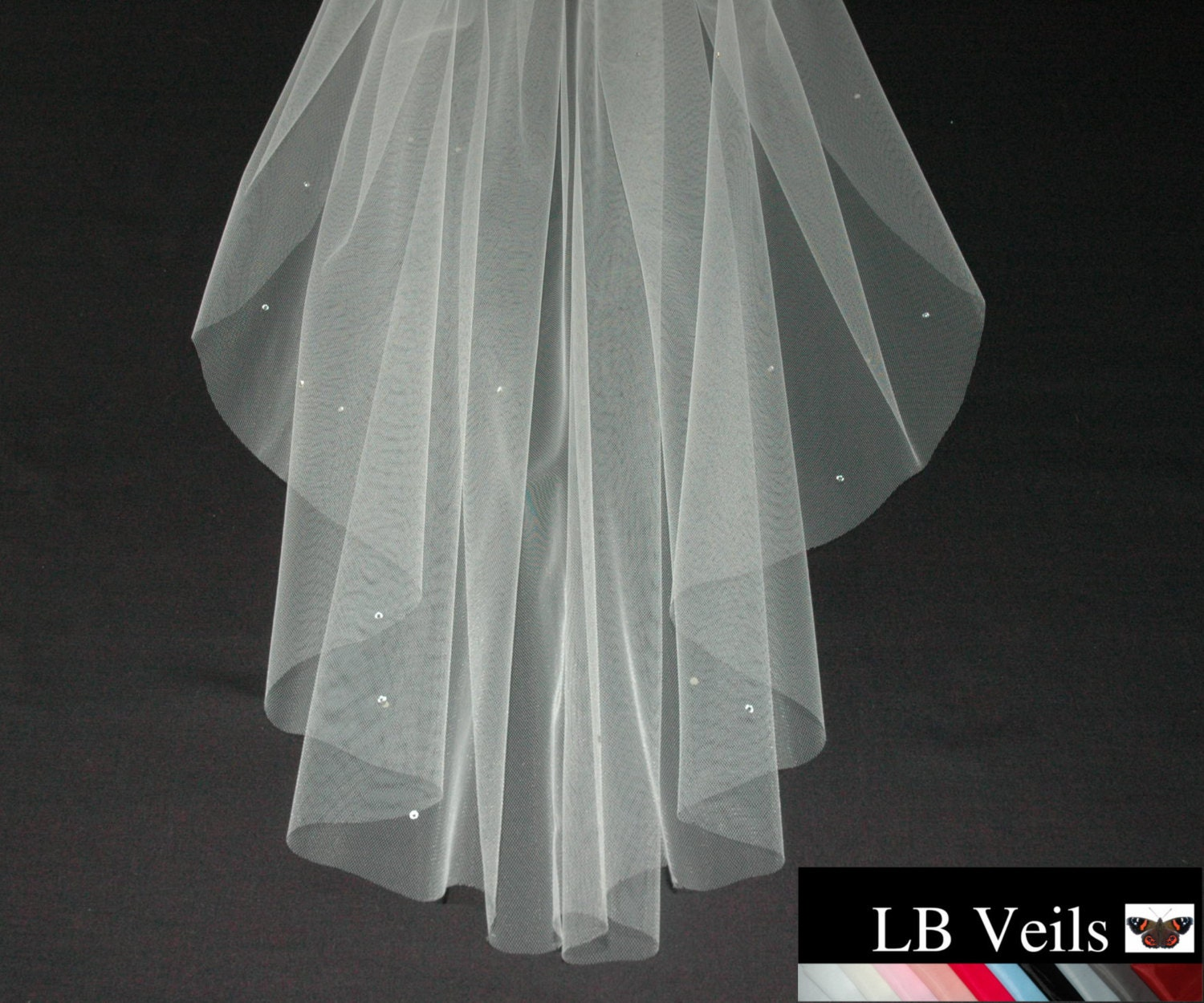 Designer Cream Wedding Veil Crystal Diamante All Over Any Length 1 Single Tier Colour LBV158 LB Veils UK
