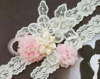 Ivory and Pink Wedding Garter Set,Pink and Ivory Lace Applique Wedding Garters,Ivory Lace Wedding Garters,Plus Size Wedding Garter,Garters