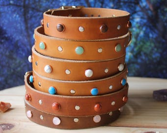 Leather And Gemstone Handcrafted Dog Collars By Souldogdesigns