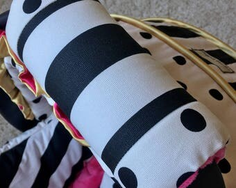 Black and White Stripe Arm Pad for Infant Car Seat Handle, Polka Dot Arm Pad, Modern Arm Cushion for Car Seat Handle, Baby Shower Gift