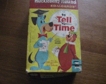 1960's Educards Huckleberry Hound To Tell Time Card Set