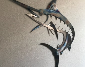 Marlin Metal Wall Art Ocean Nautical Marine Sea Life Beach House Home Decor