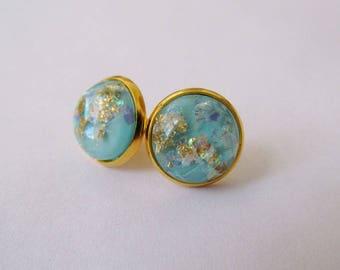 Gold Leaf Earrings - Cyan Series