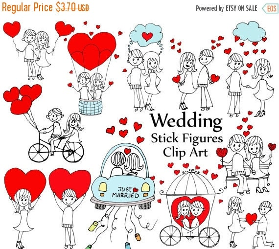 40%OFF Wedding Stick Figure Clipart: STICK FIGURES By