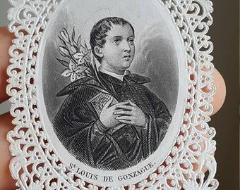 Antique French Saint Louis de Gonzague Prayer Card Holy Card Catholic Art Religious Art Catholic Gift Religious Gift St. Louis San Luis