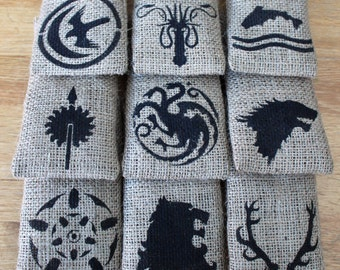 "Small Hessian Burlap Game of Thrones House Sigils Wedding Party Gift Favour Bags Pouches W9 x H15cm(3.5"" x 6"")"