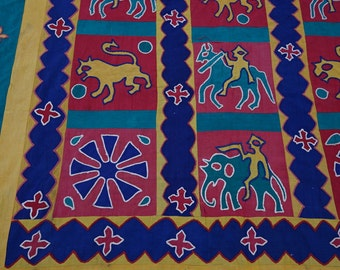 Vintage Kanduri Cloth Technique Pakistani Quilt / Kanduri Harvest Cloth / Man verus Nature Kanduri cloth Quilt / Havest Celebration quilt