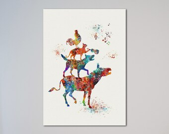 Town Musicians of Bremen Watercolor Poster illustrations, Art Print, Nursery Art Wall Decor gift express service fast delivery