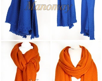 Handmade Nepalese Cashmere thick Scarf-Royal blue and orange colour