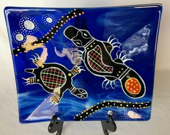 Vintage Blue Fused Glass Rectangular Plate Modern Southwest Hand Painted Decorative Turtle