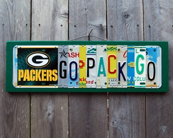 GO PACK GO logo, Green Bay Packers football license plate sign