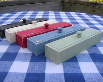Wood Pencil Box - Painted - Teachers' Gift, Desk Organizer, Kids' Desk, Workshop