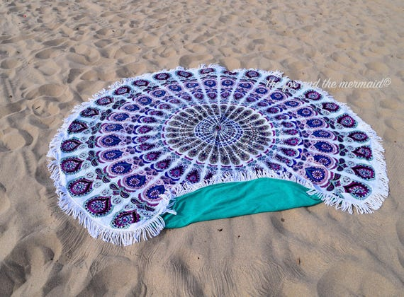 Playa redondo de toalla tapiz m ndala redondo rizo toalla - Toallas redondas de playa ...