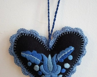 Hand-embroidered blue felt Hungarian, Matyo needle pillow (MKORN-NEEDLEPILLOW-308)