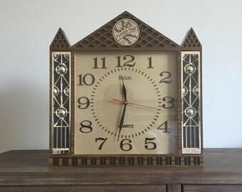 Vintage Tempus Fugit Wall/Mantle Clock; Steeple Clock; Mantle Clock; Quartz; Wall Clock; Tempus Fugit Clock; Vintage Clock; Working Clock